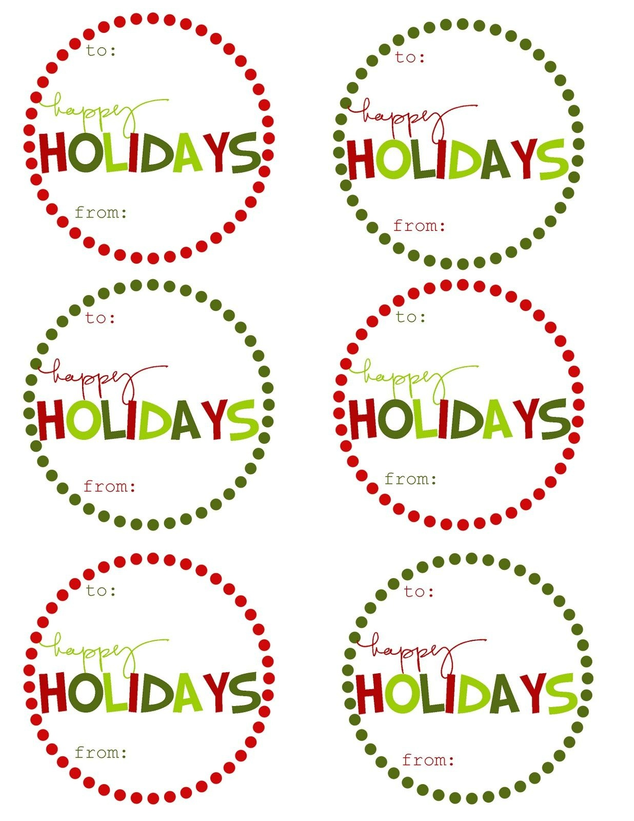 Great Ideas - 22 Free Holiday Printables   Craft Time   Christmas - Free Printable Happy Holidays Gift Tags