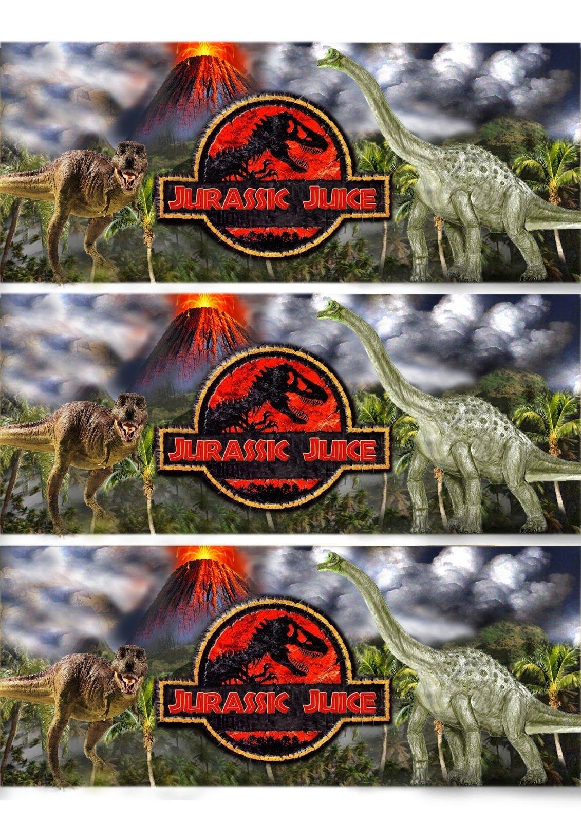 Greatfun4Kids:free Printable Dinosaur / Jurassic Party Drink Bottle - Free Printable Jurassic Park Invitations