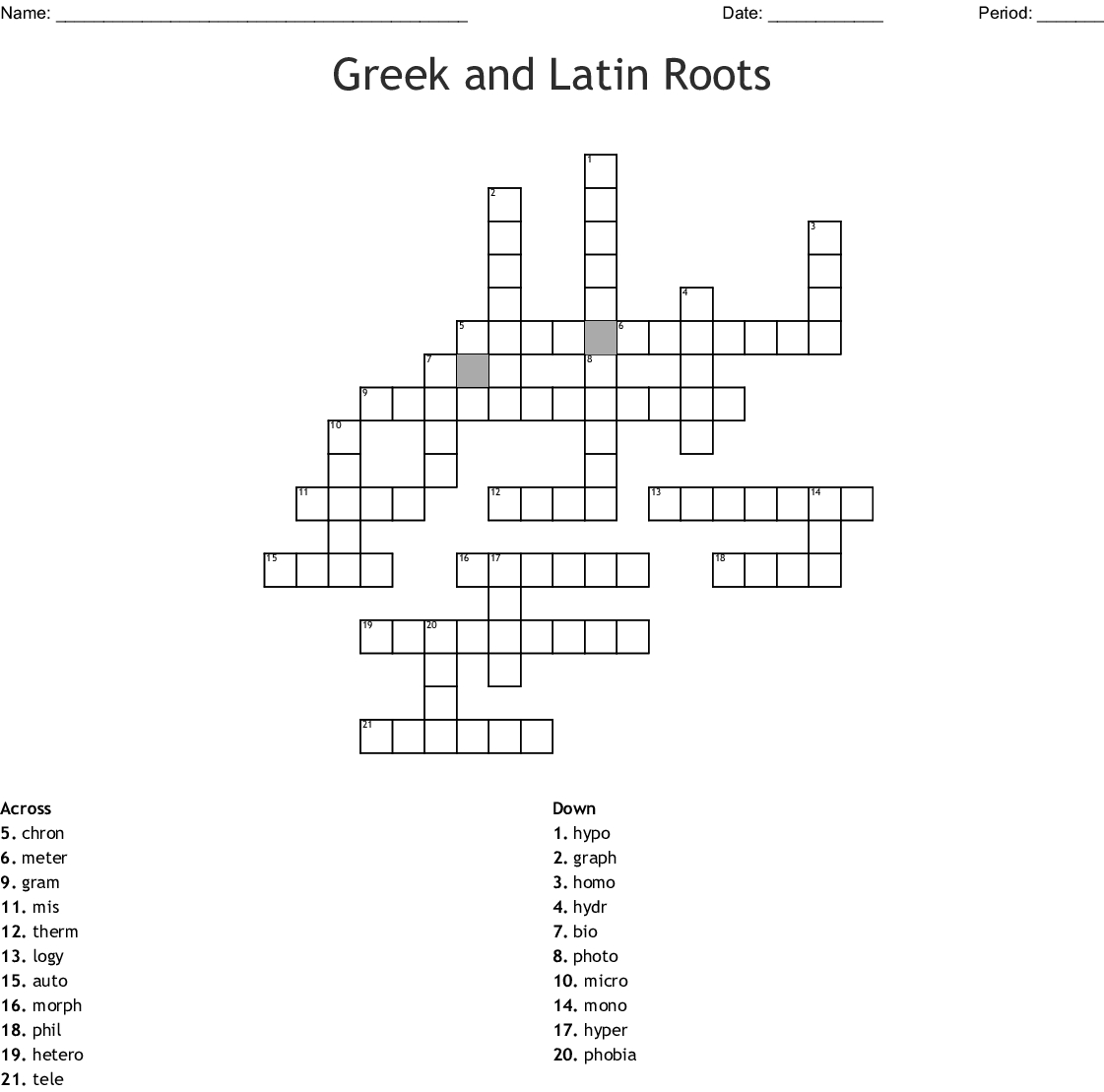 Greek And Latin Roots Crossword - Wordmint - Free Printable Greek And Latin Roots