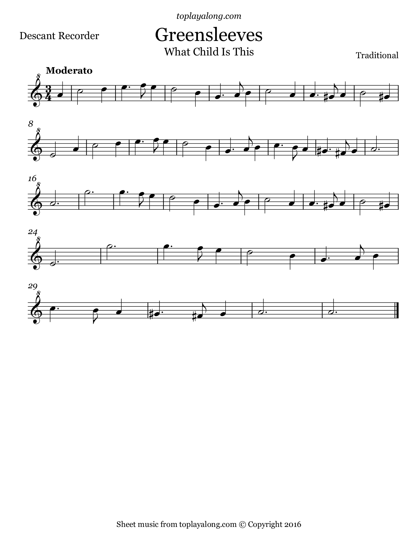 Greensleeves – Toplayalong - Free Printable Recorder Sheet Music For Beginners
