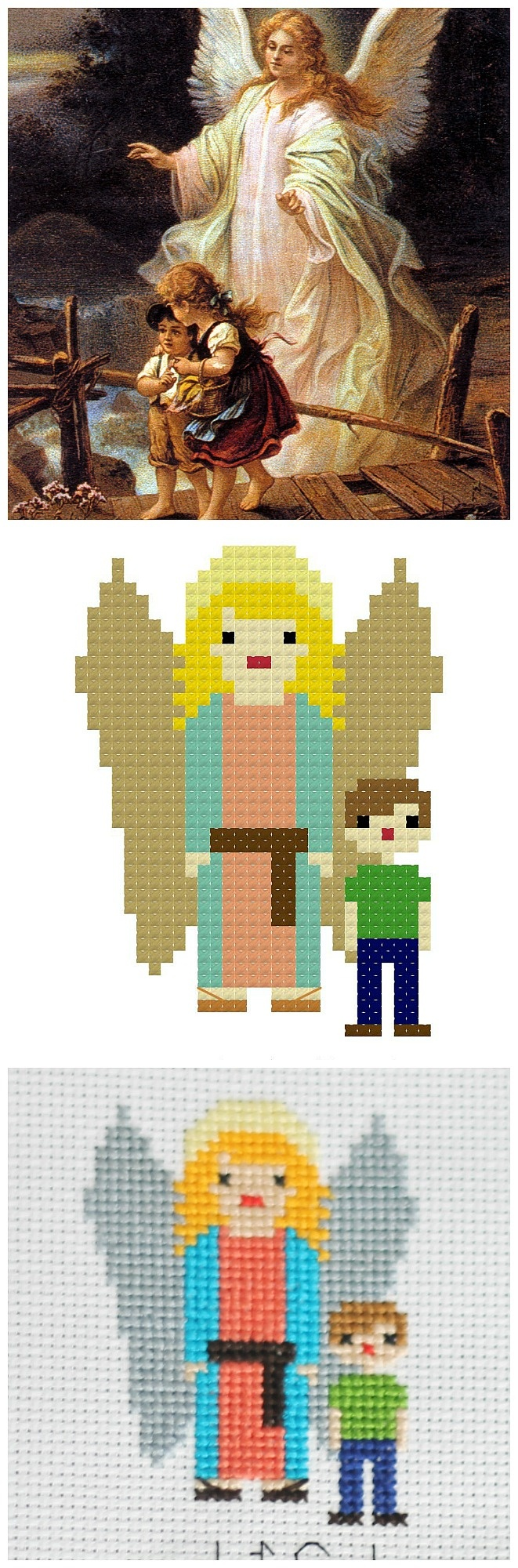 Guardian Angel Free Cross Stitch Pattern | Catholic Sprouts - Free Printable Cross Stitch Patterns Angels