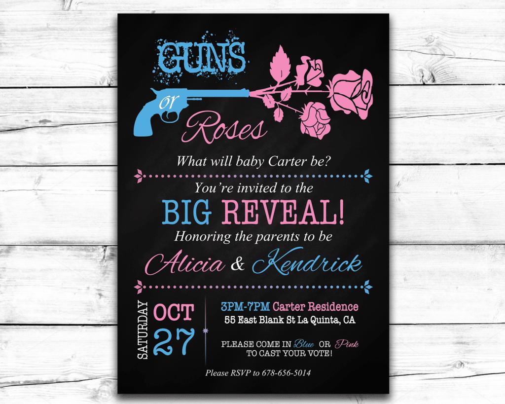 Guns Or Roses Printable Gender Reveal Invitation | The Baby Bee - Free Printable Gender Reveal Templates