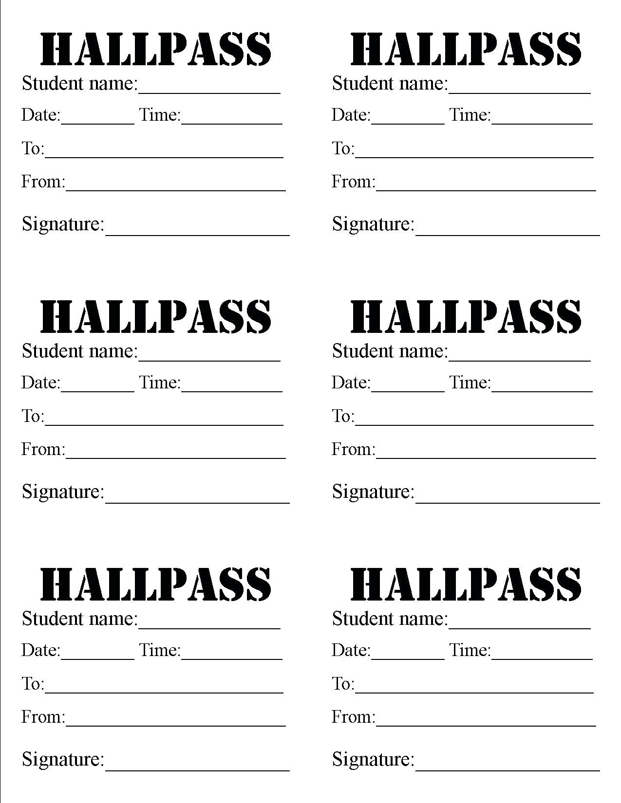 Hall Pass Template 10 Outrageous Ideas For Your Hall Pass - Free Printable Hall Pass Template