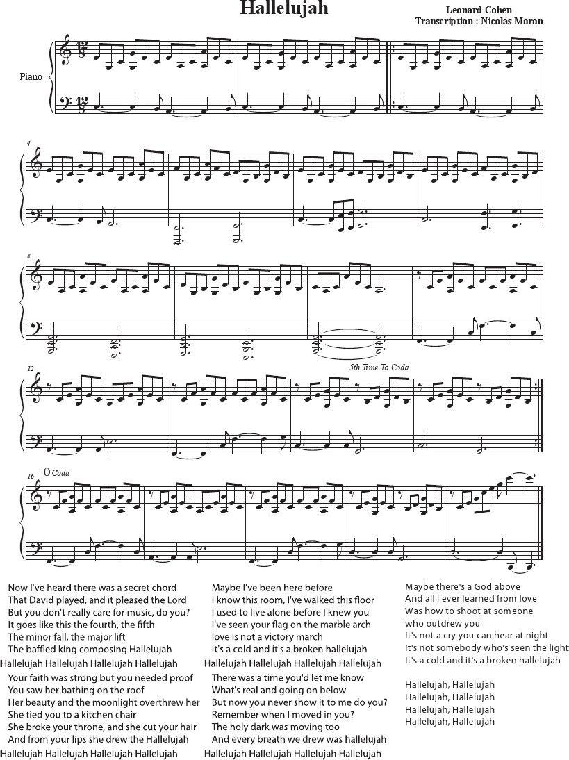 Hallelujah - Cohen - Rufus Wainwright - Shrek Best - Sheet Music - Free Printable Piano Sheet Music For Hallelujah By Leonard Cohen