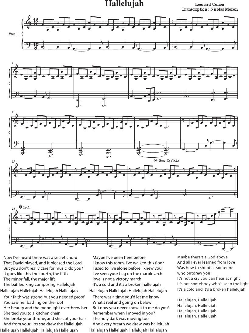 Hallelujah - Cohen - Rufus Wainwright - Shrek Best - Sheet Music - Hallelujah Piano Sheet Music Free Printable