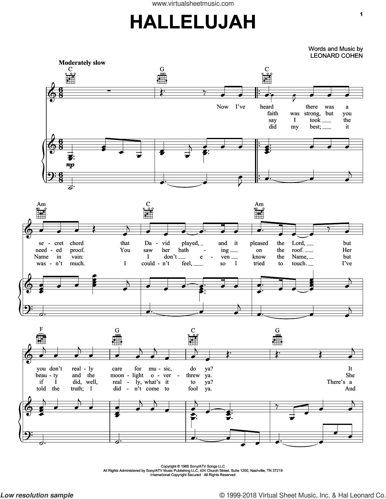 Hallelujah - Free Printable Piano Sheet Music For Hallelujah By Leonard Cohen