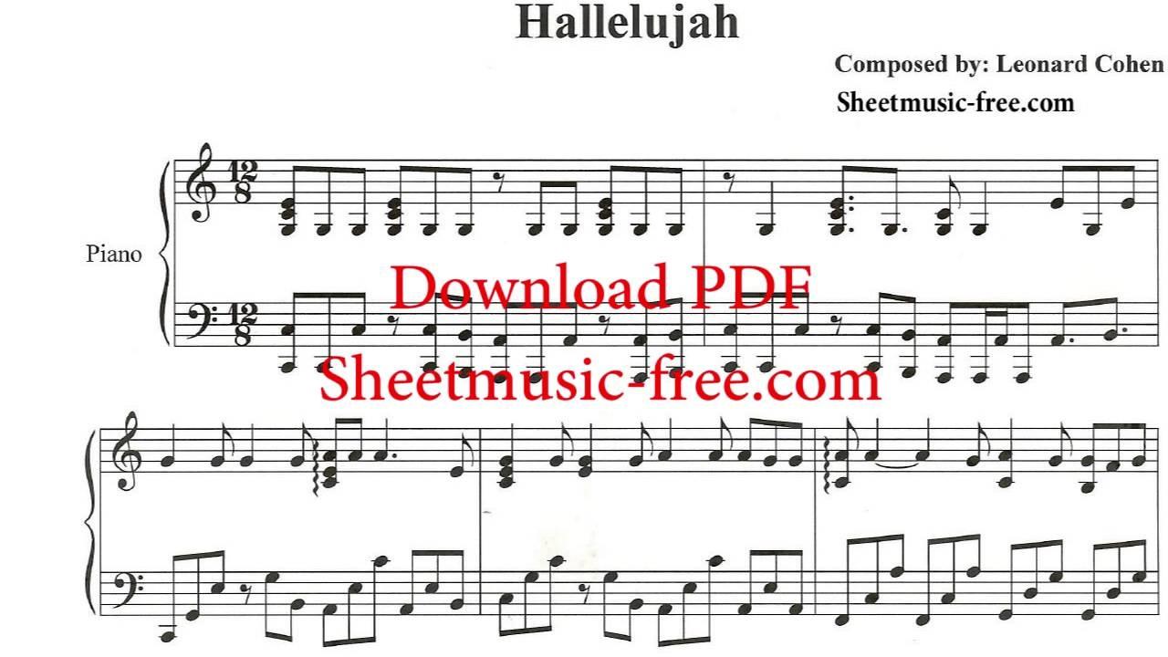 Hallelujah Piano Sheet Music Leonard Cohen - Free Printable Piano Sheet Music For Hallelujah By Leonard Cohen