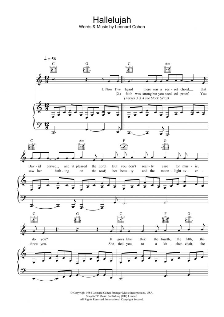 Hallelujah Piano Sheet Music Free Printable