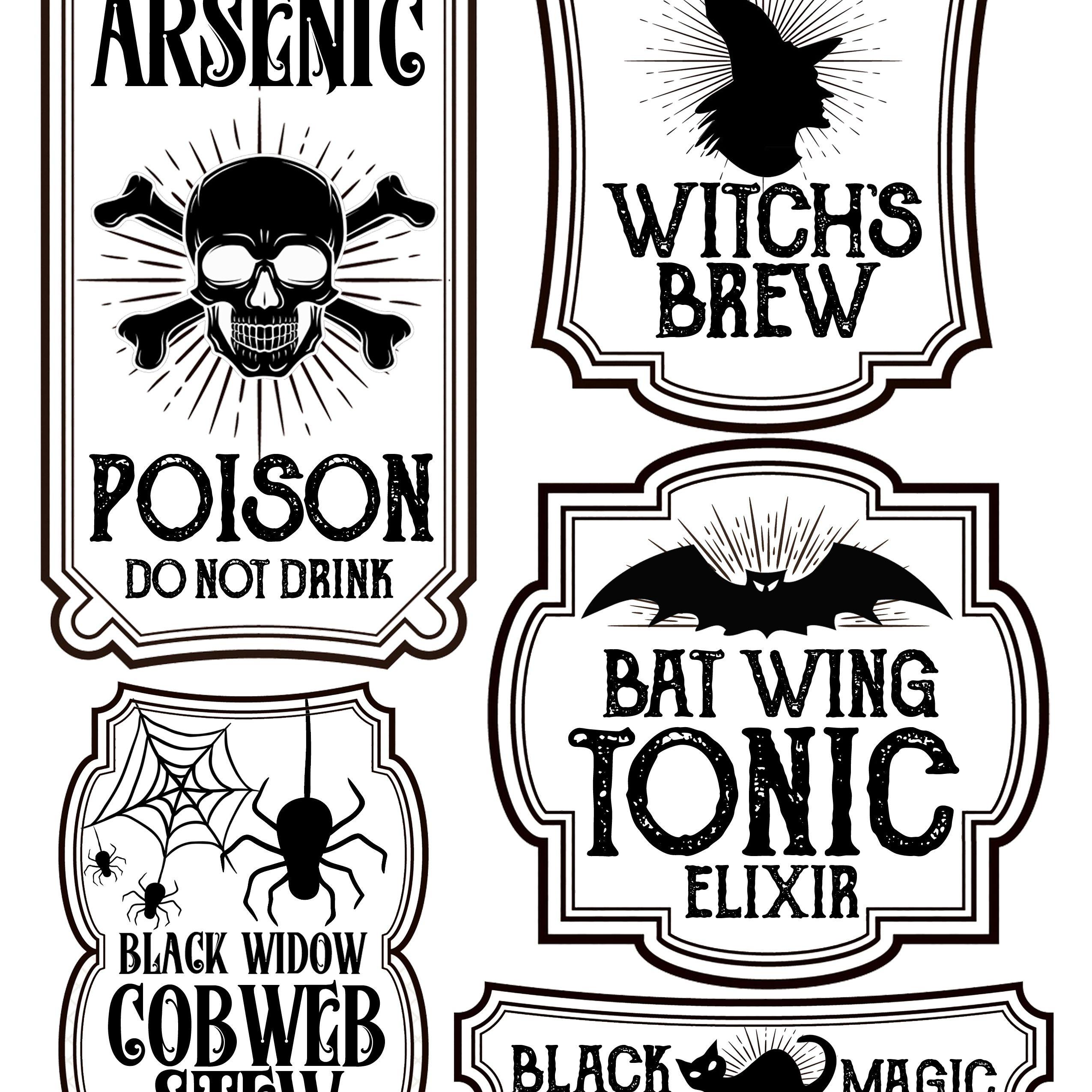 Halloween Bottle Labels - Free Printables - Potions Labels | Art - Free Printable Potion Labels