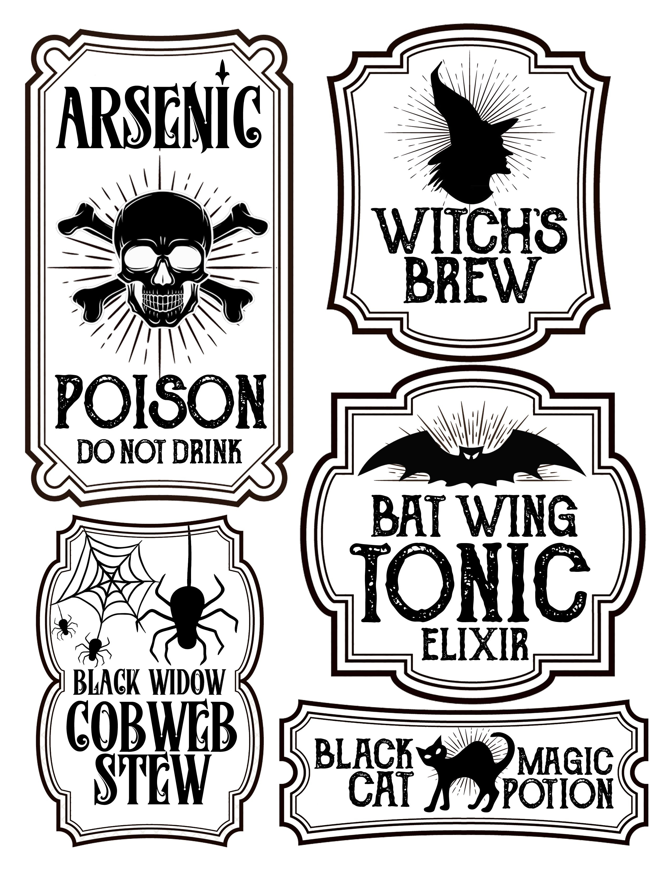 Halloween Bottle Labels - Free Printables - Potions Labels - Free Printable Potion Labels