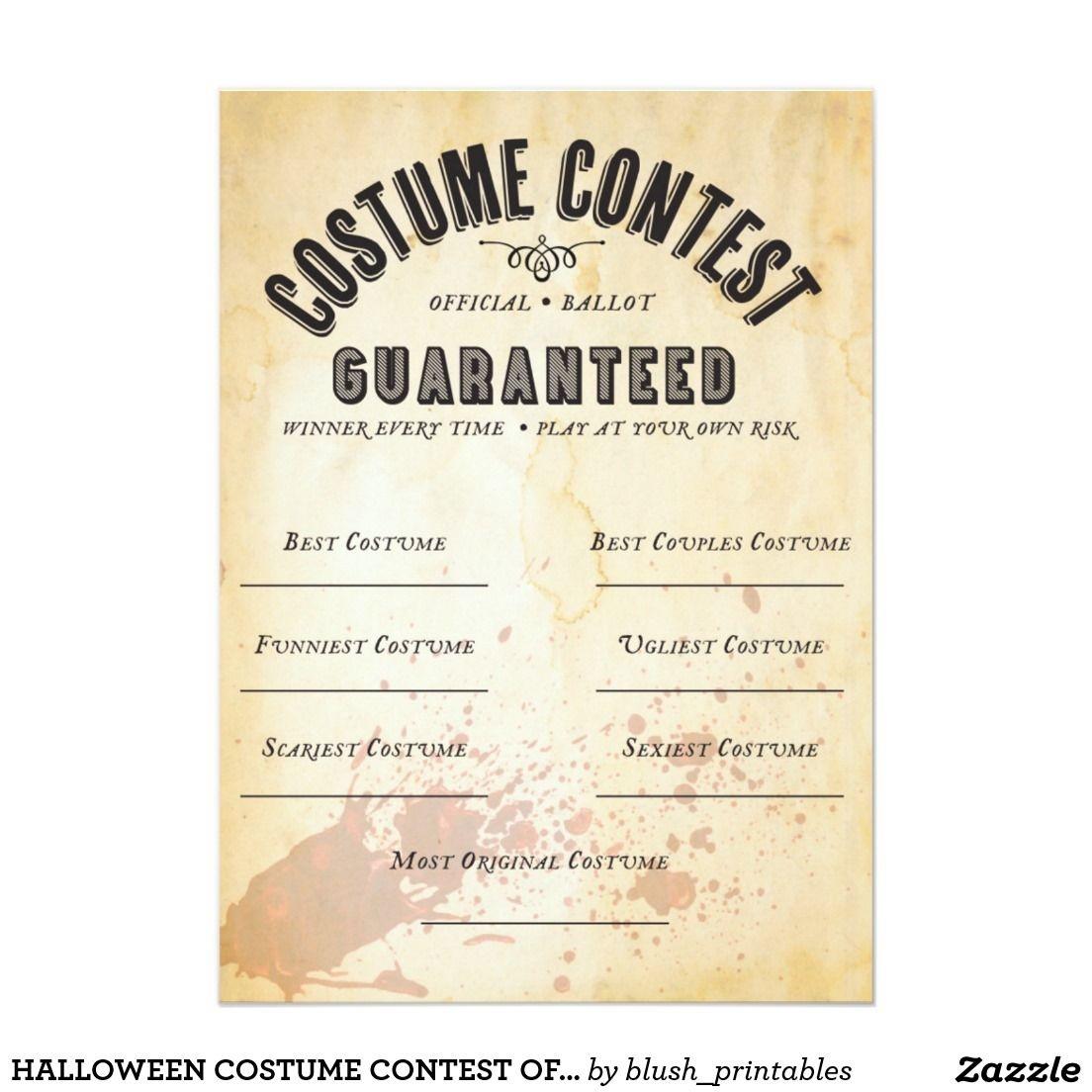 Halloween Costume Contest Ballot & Halloween Costume Award - Best Costume Certificate Printable Free
