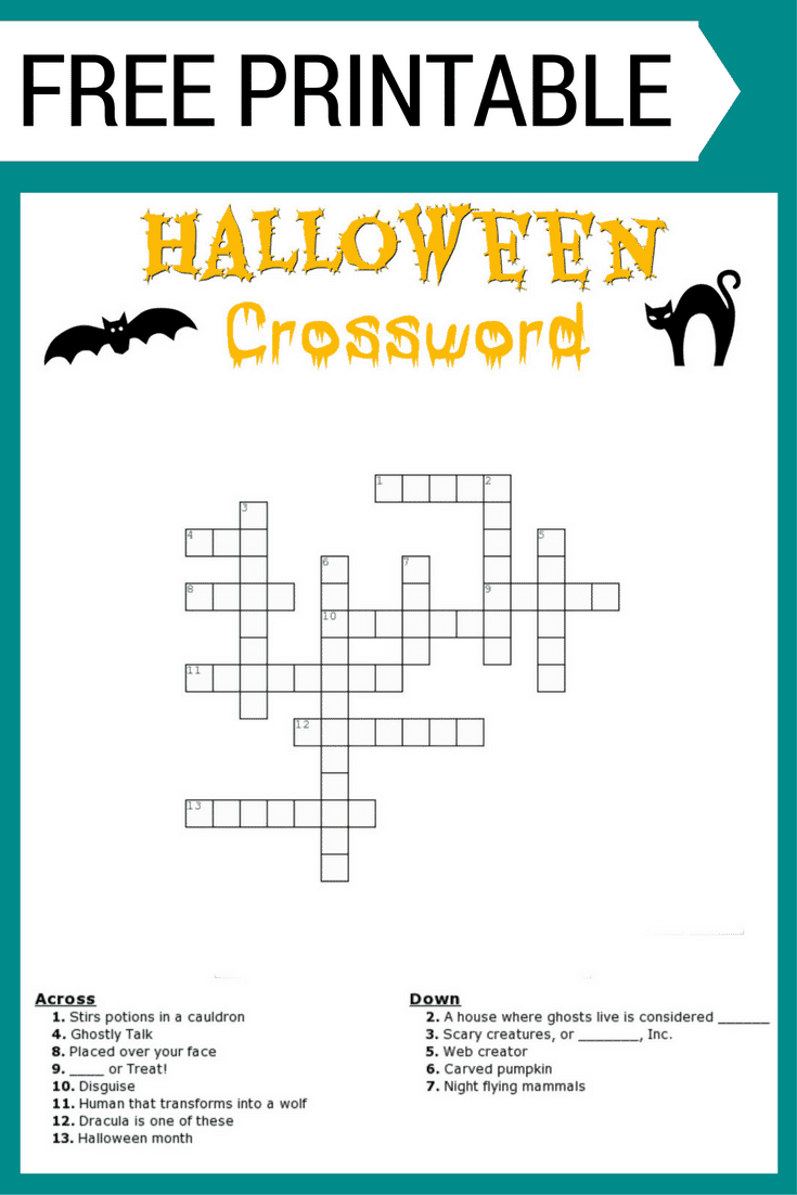 Halloween Crossword Puzzle Free Printable - Halloween Crossword Printable Free