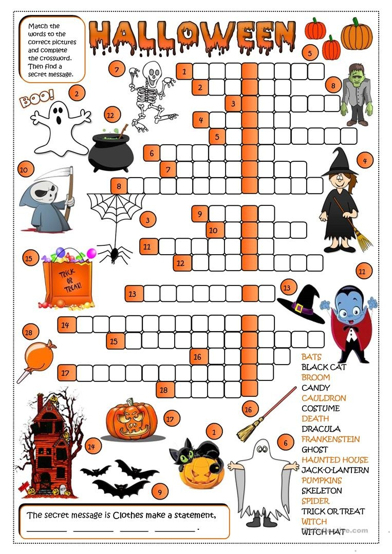 Halloween - Crossword Worksheet - Free Esl Printable Worksheets Made - Halloween Crossword Printable Free