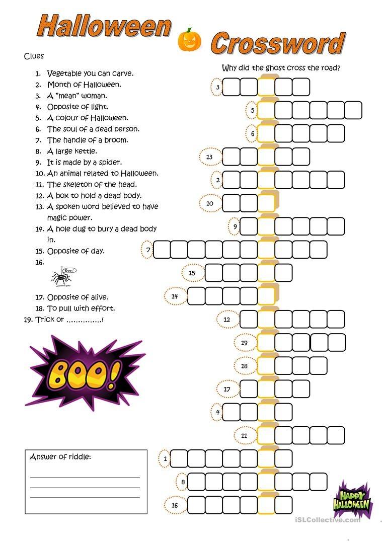 Halloween Crossword Worksheet - Free Esl Printable Worksheets Made - Halloween Puzzle Printable Free
