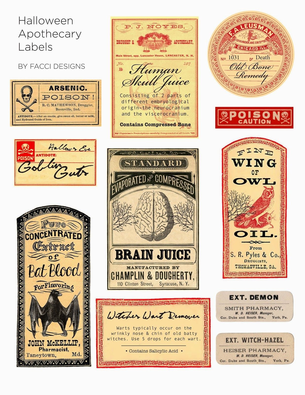 Halloween Love: Spooky Apothecary Labels Free Printable | Halloween - Free Printable Apothecary Jar Labels