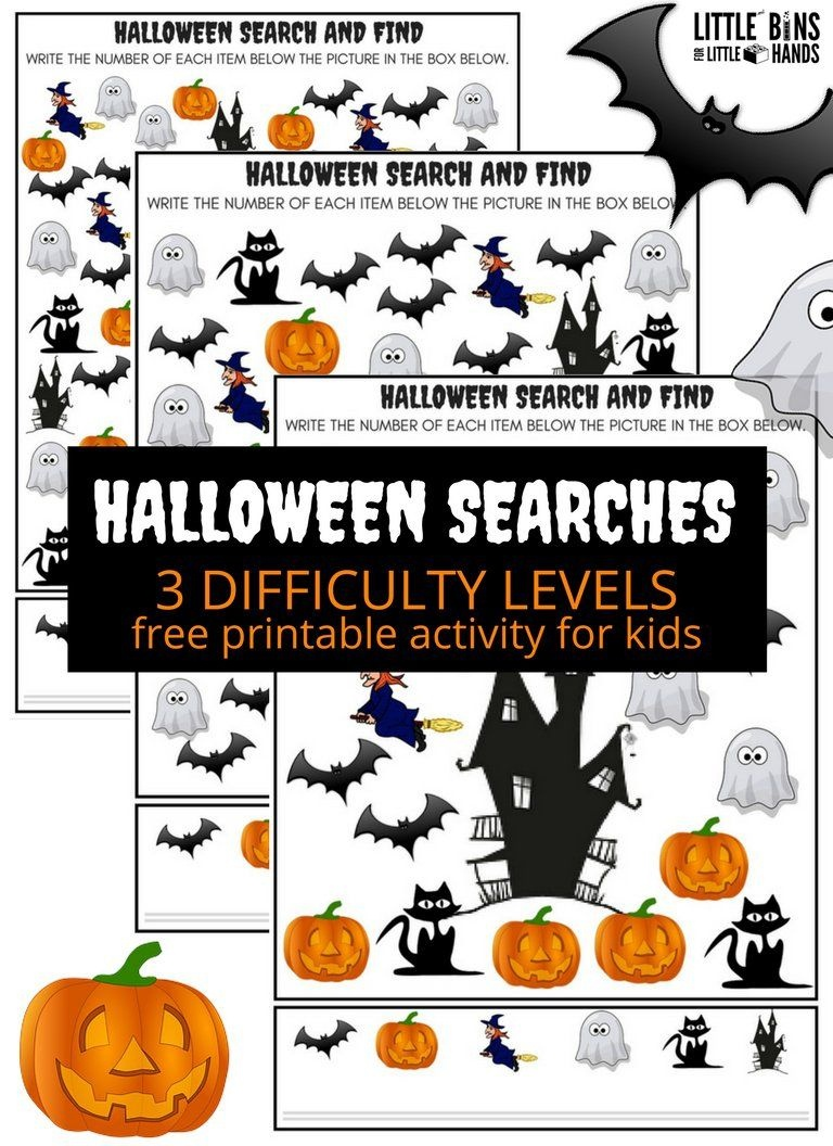 Halloween Searches Seek And Find Math Activity | All Things - Free Printable Halloween Homework Pass
