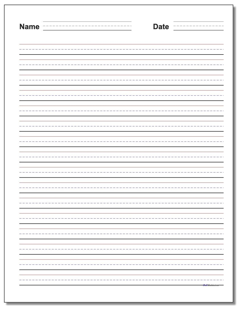 Handwriting Paper - Elementary Lined Paper Printable Free
