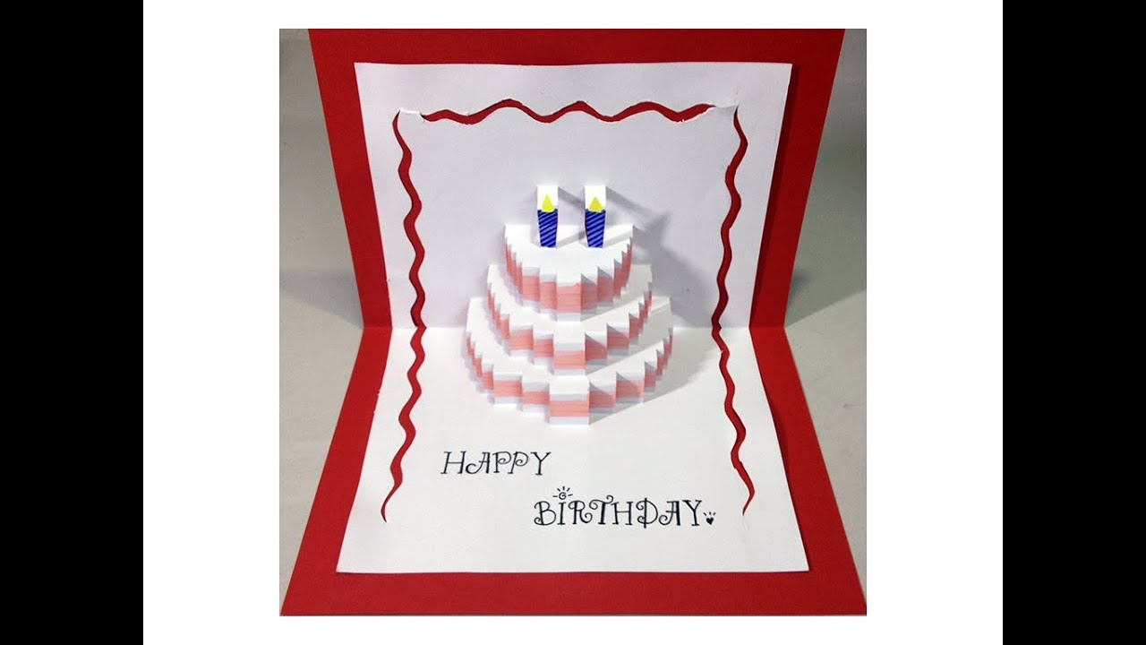Happy Birthday Cake - Pop-Up Card Tutorial - Youtube - Free Printable Pop Up Birthday Card Templates