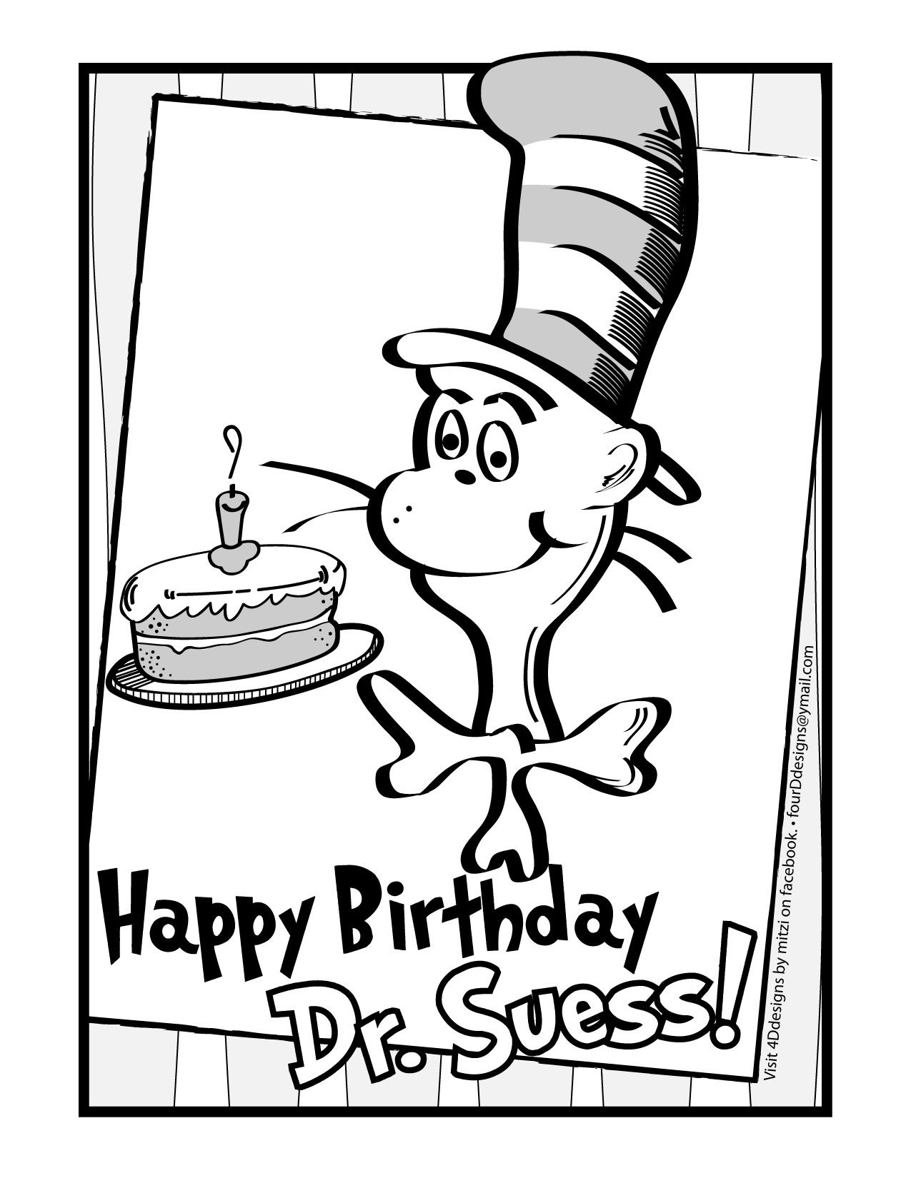 Happy Birthday Dr. Suess! Coloring Page • Free Download | Dr Seuss - Free Printable Dr Seuss Coloring Pages