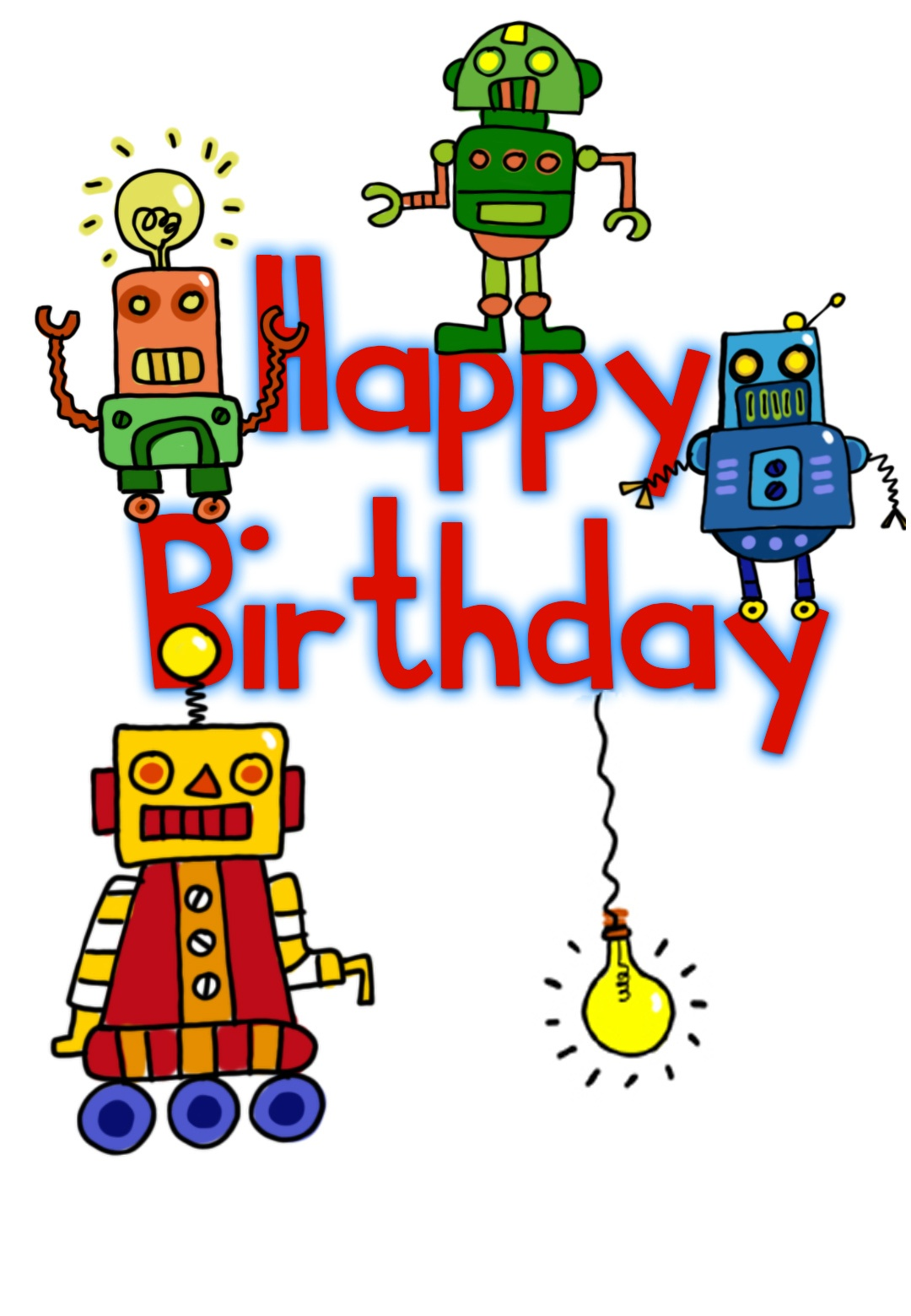 Happy Birthday Robots - Birthday Card (Free)   Greetings Island - Free Printable Birthday Cards For Boys