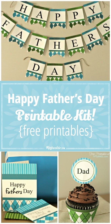 Happy Father's Day Printable Decor Kit! {Free Printables} – Tip Junkie - Happy Father Day Banner Printable Free