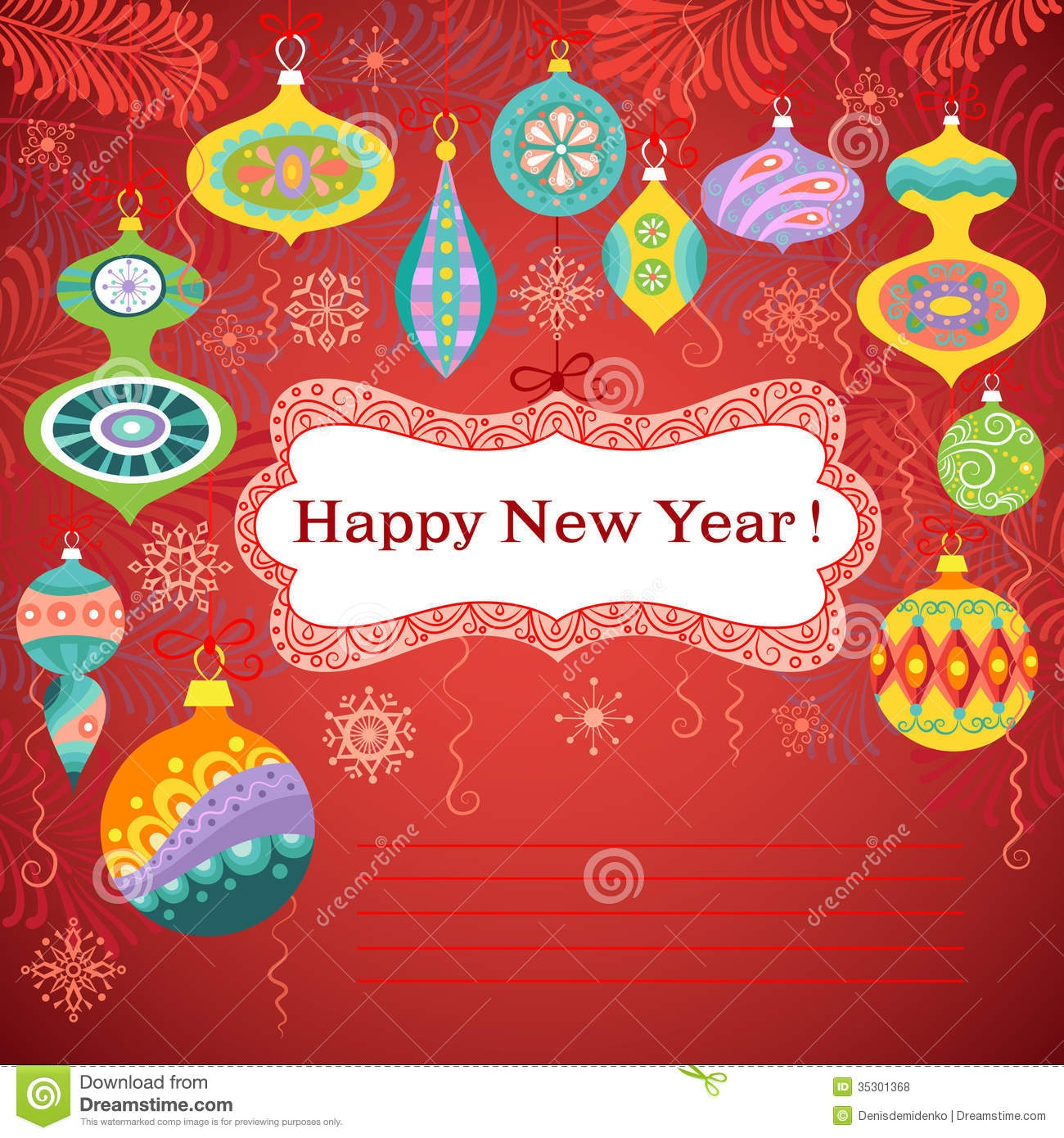 Happy New Year Card Stock Vector. Illustration Of Banner - 35301368 - Free Printable Happy New Year Cards