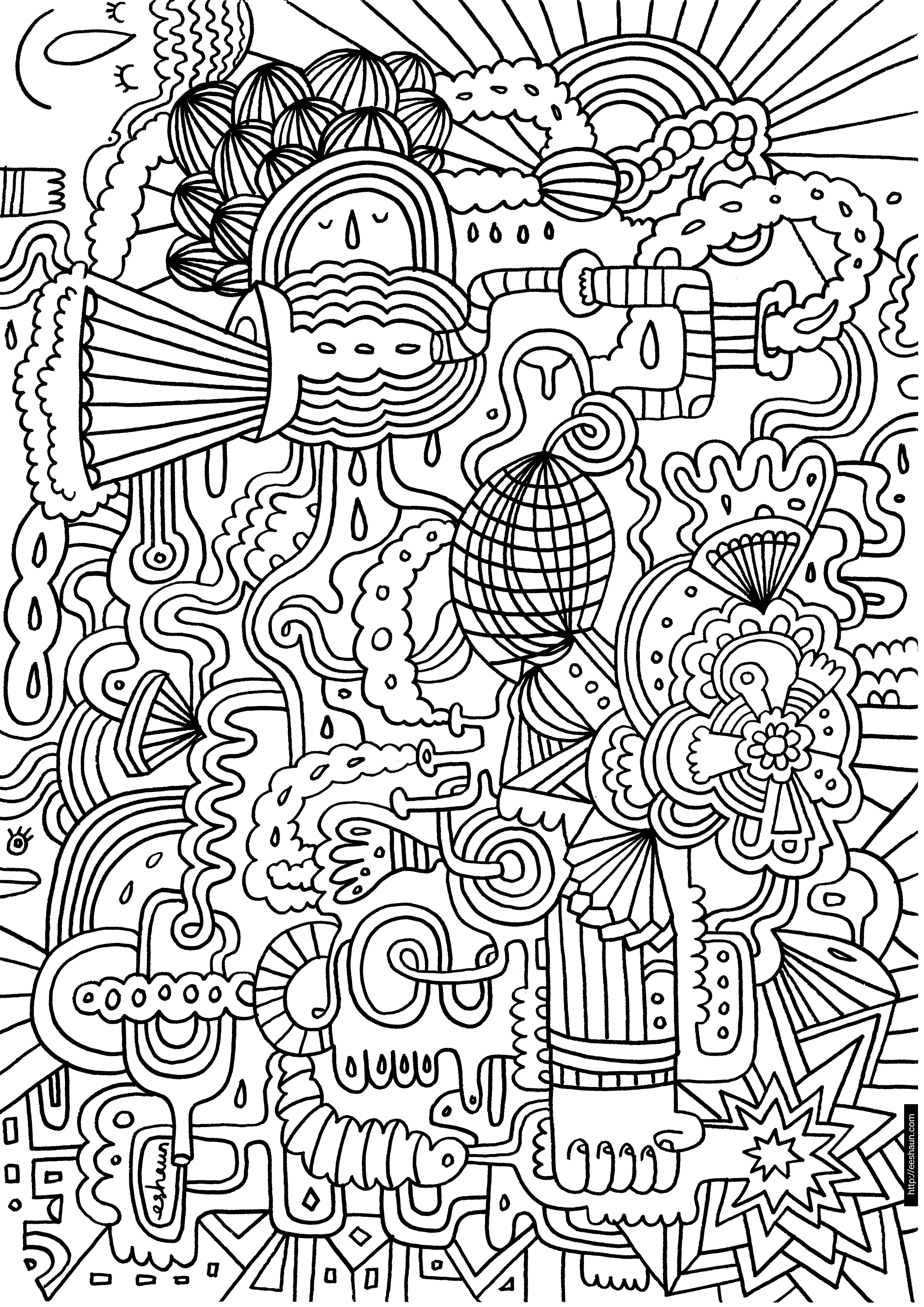 Hard Coloring Pages - Free Large Images | Adult Coloring Pages - Free Printable Doodle Patterns