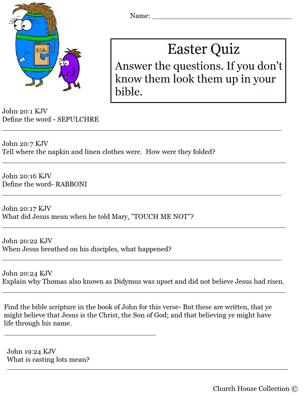 Hard Easter Quiz On Resurrection Of Jesus - Free Bible Questions And Answers Printable