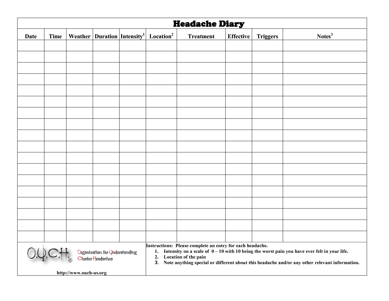 Headache Diary Headache Diary | Health | Headache Diary - Free Printable Headache Diary