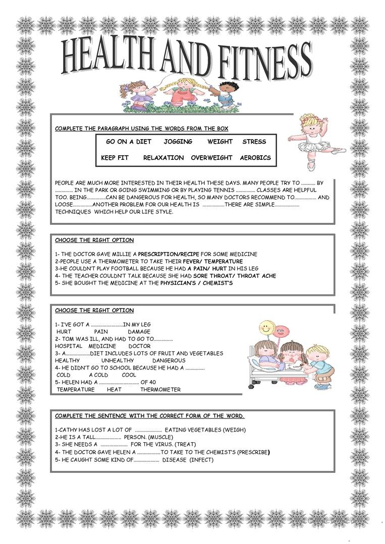 Health And Fitness Worksheet - Free Esl Printable Worksheets Made - Free Printable Fitness Worksheets