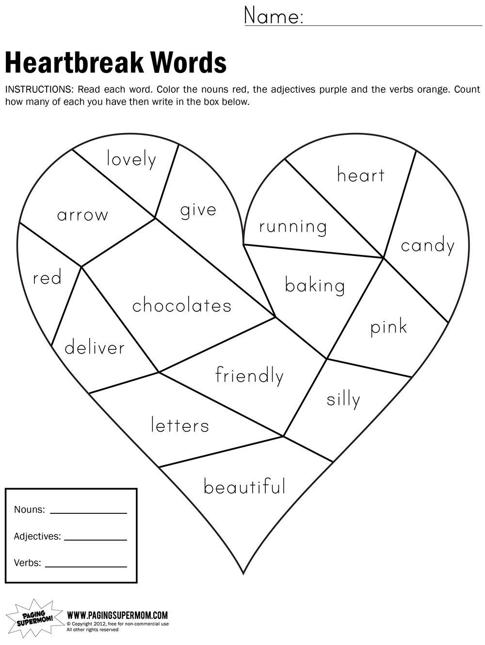 Heartbreak Words Free Printable Worksheet | Education---February - Free Printable Valentine Math Worksheets