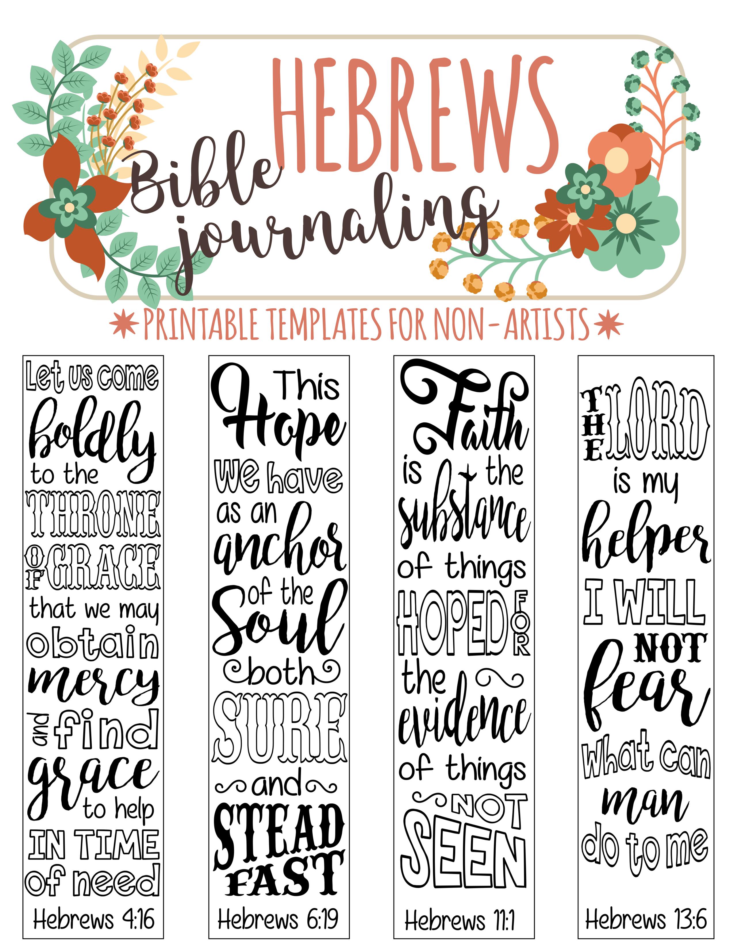 Hebrews - 4 Bible Journaling Printable Templates, Illustrated - Free Printable Bible Bookmarks Templates