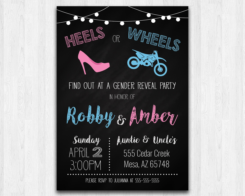 Heels Or Wheels (Dirt Bike) Printable Gender Reveal Invitation | The - Free Printable Gender Reveal Invitations