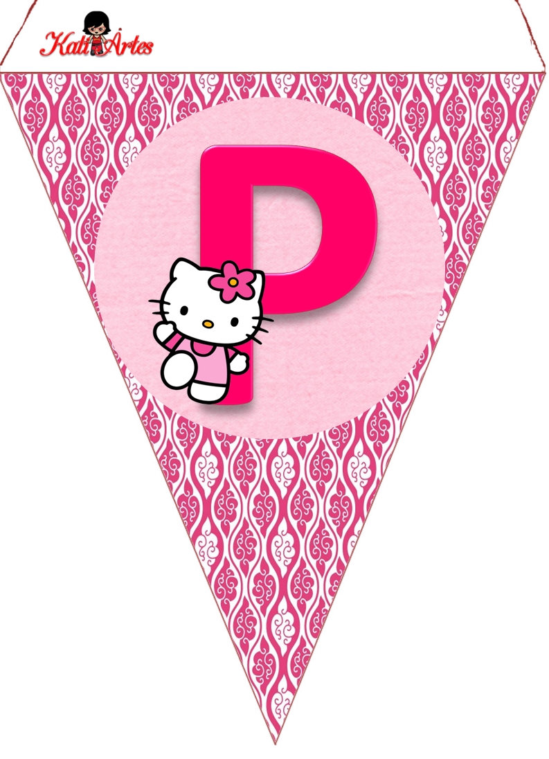 Hello Kitty Free Printable Bunting. Banderines De Hello Kitty - Free Printable Hello Kitty Alphabet Letters
