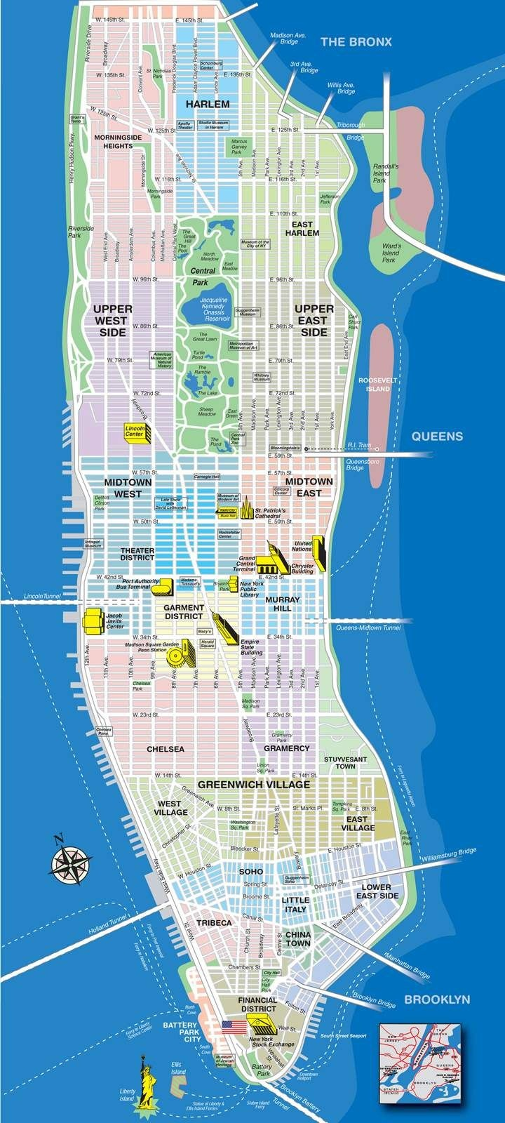 High-Resolution Map Of Manhattan For Print Or Download | Usa Travel - Free Printable Map Of Manhattan