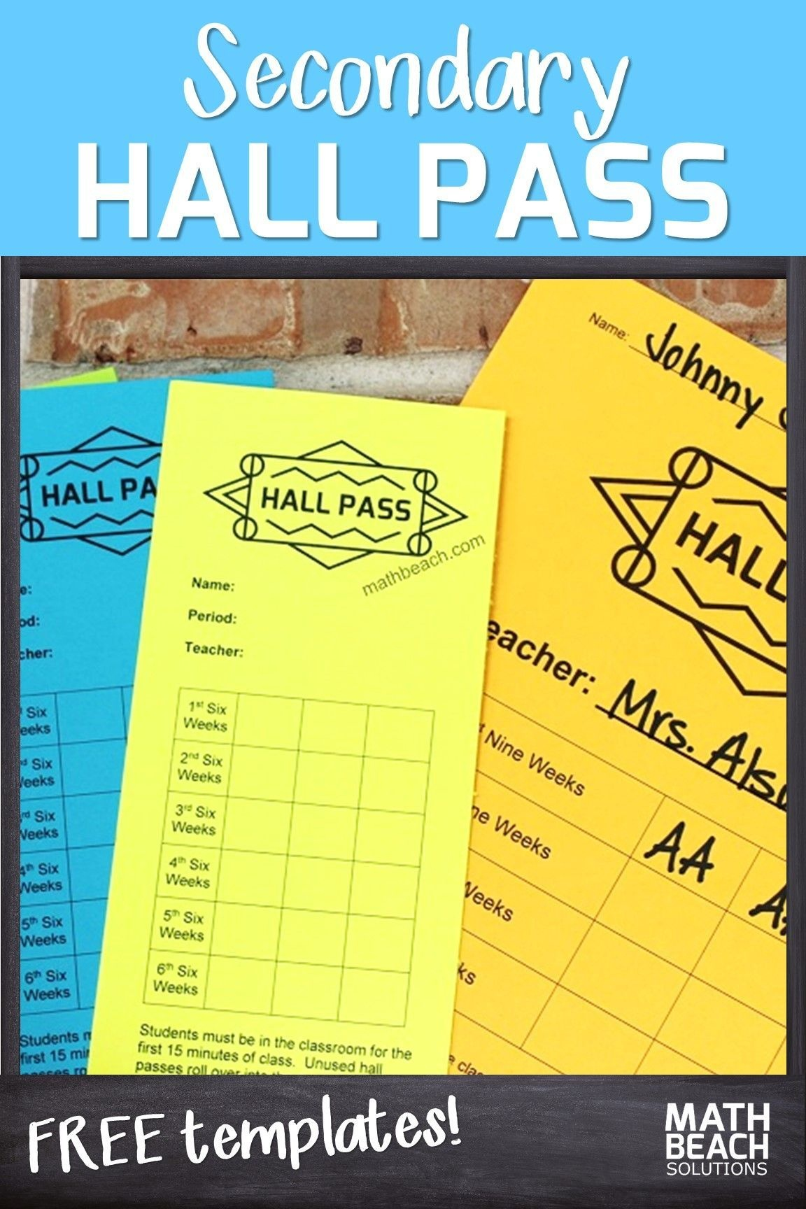 High School Hall Pass | Classroom Procedures For High School Math - Free Printable Hall Pass Template