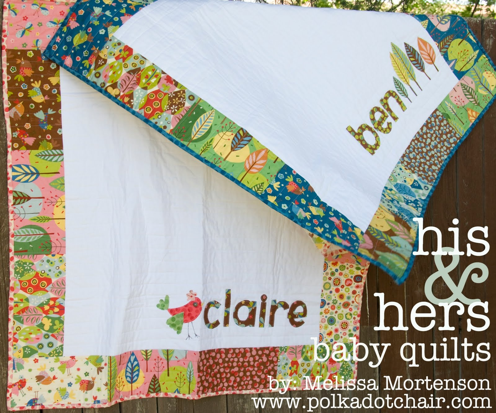 His & Hers Personalized Baby Quilt Pattern - The Polkadot Chair - Free Printable Dutch Girl Quilt Pattern