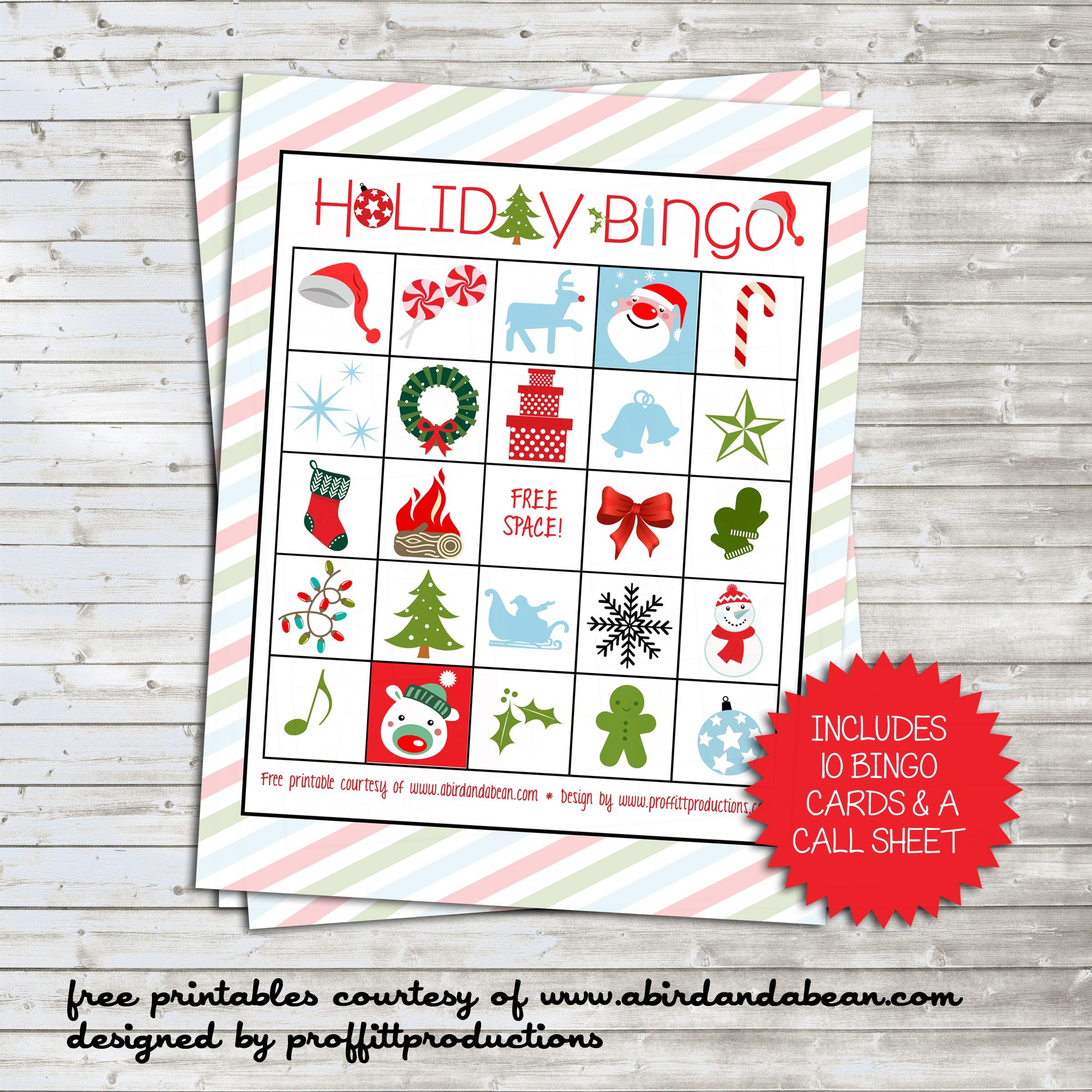 Holiday Bingo Set :: Free Printable - Free Printable Bingo Cards And Call Sheet