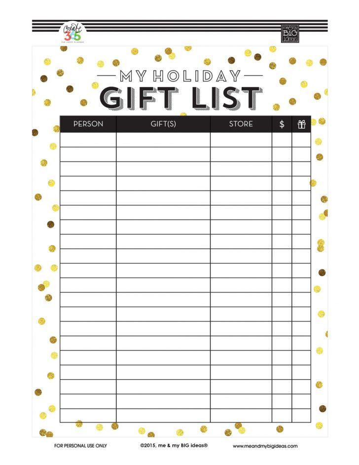 Free Printable Gift List