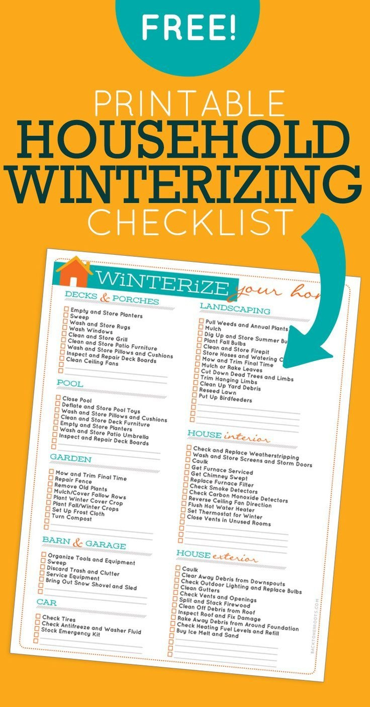 Household Winterizing Checklist | Printables | Home Maintenance - Free Printable Winterization Stickers