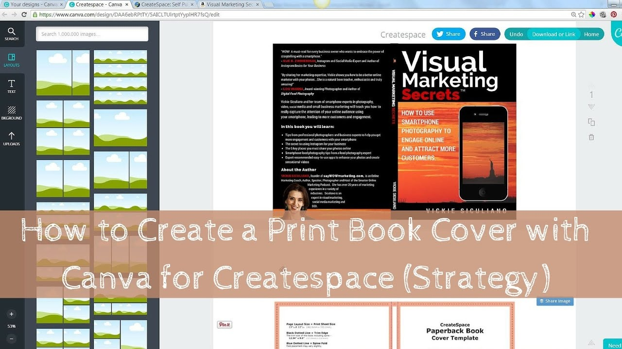 How To Create A Print Book Cover With Canva For Createspace - Book Cover Maker Free Printable