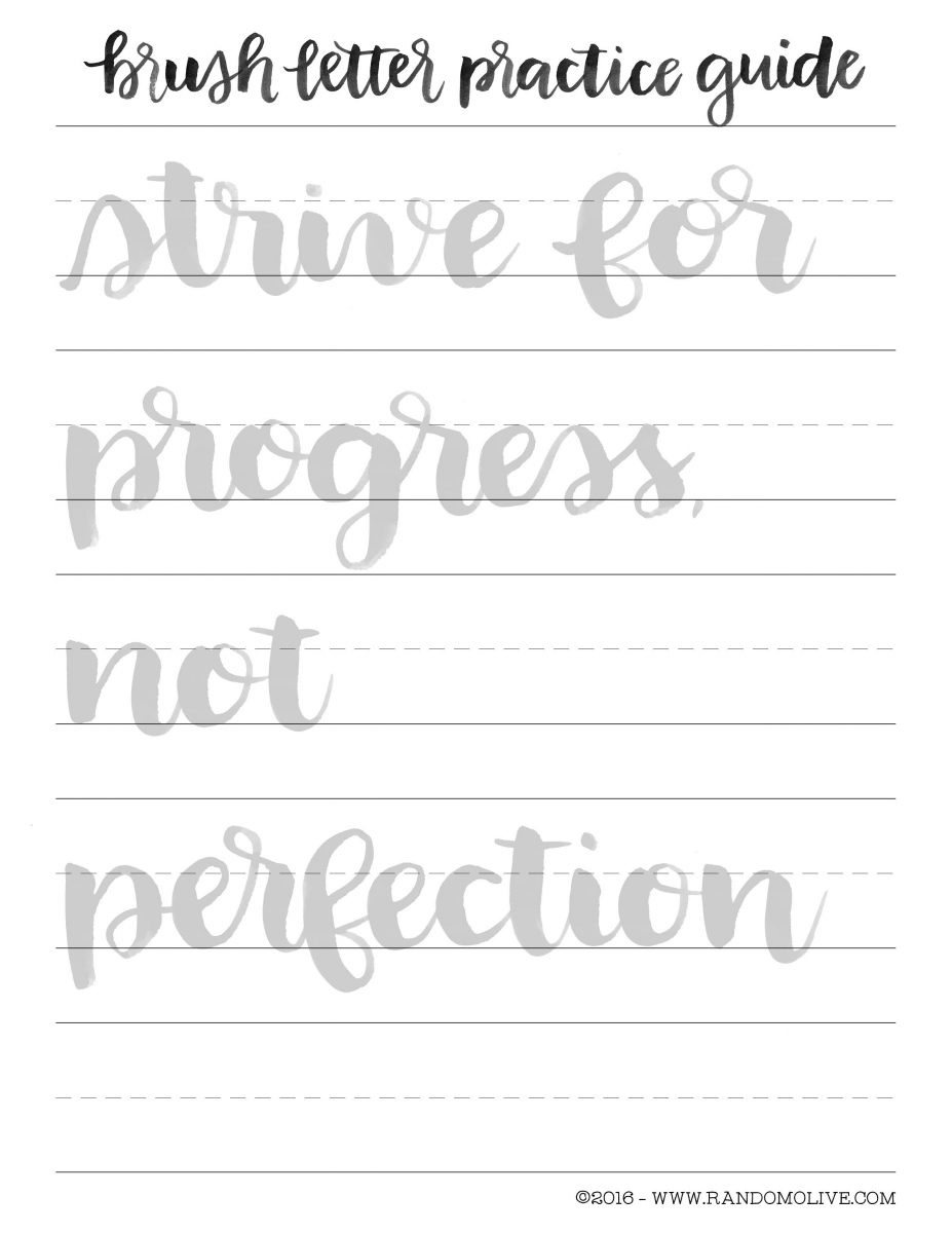 How To Do Brush Lettering The Easy Way: Free Printable Practice - Calligraphy Practice Sheets Printable Free