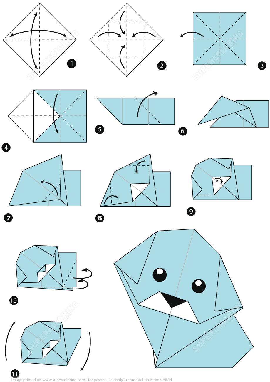 How To Make An Origami Dog Stepstep Instructions   Free - Free Easy Origami Instructions Printable