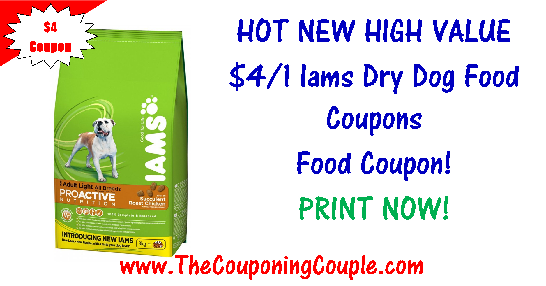 Huge Reset Iams Dry Dog Food Coupon ~ $4/1 Print Now! - Free Printable Scoop Away Coupons