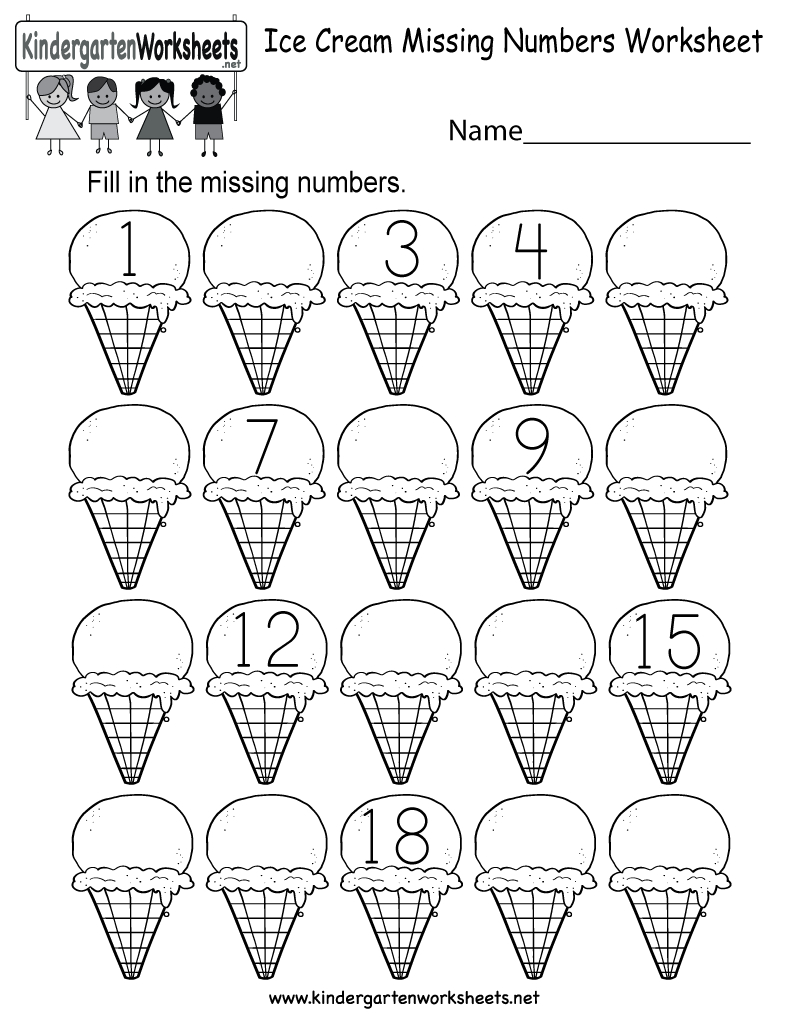 Ice Cream Missing Numbers 1-20 Worksheet For Kindergarten (Free - Free Printable Counting Worksheets 1 20