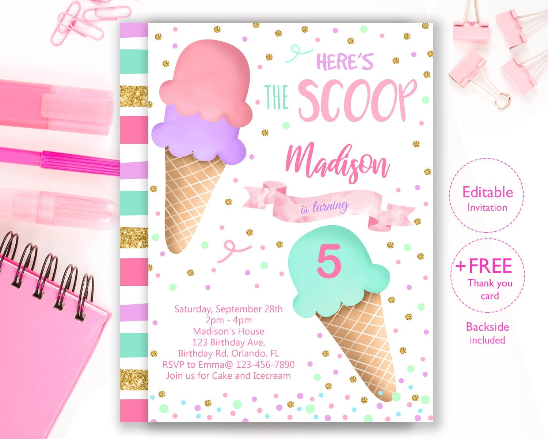 Ice Cream Party Invitation Editable Ice Cream Birthday | Etsy - Ice Cream Party Invitations Printable Free