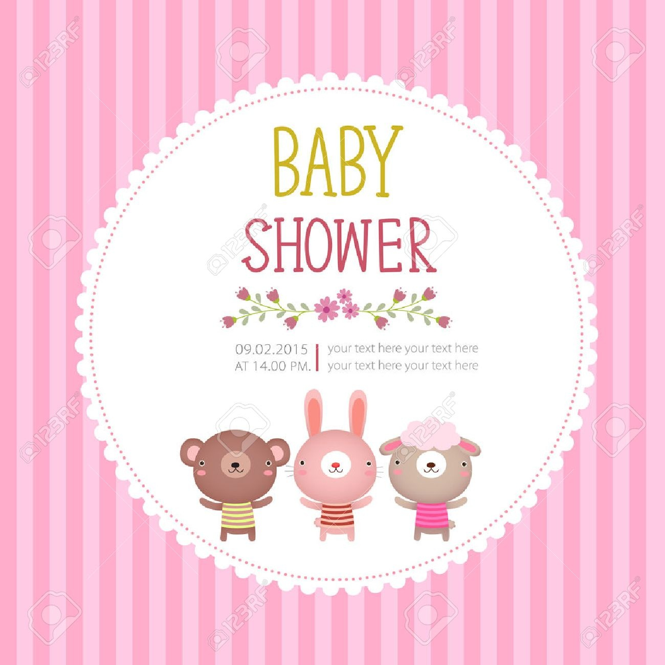 Illustration Ofy Shower Invitation Card Template On Pink Background - Free Printable Baby Cards Templates