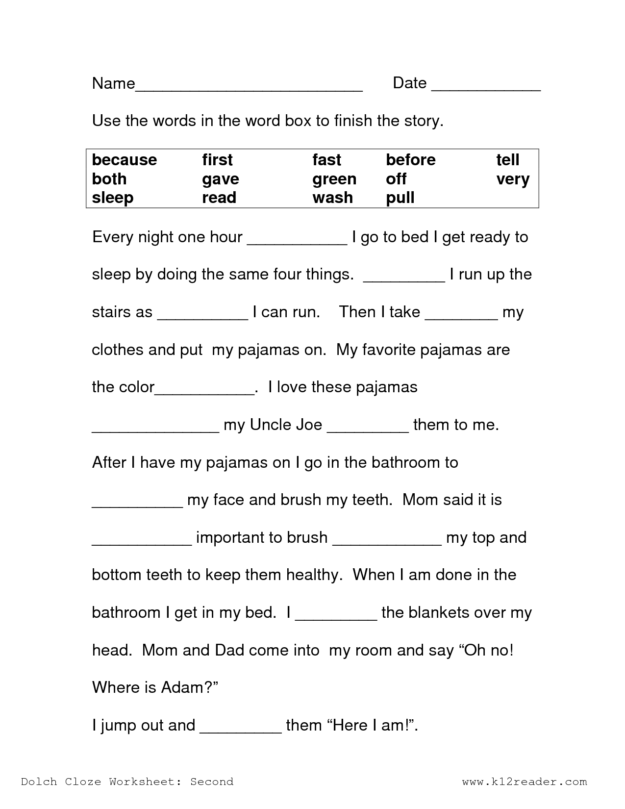 Image Result For Free Cloze Reading Passages 2Nd Grade | Printables - Free Printable Reading Games For 2Nd Graders