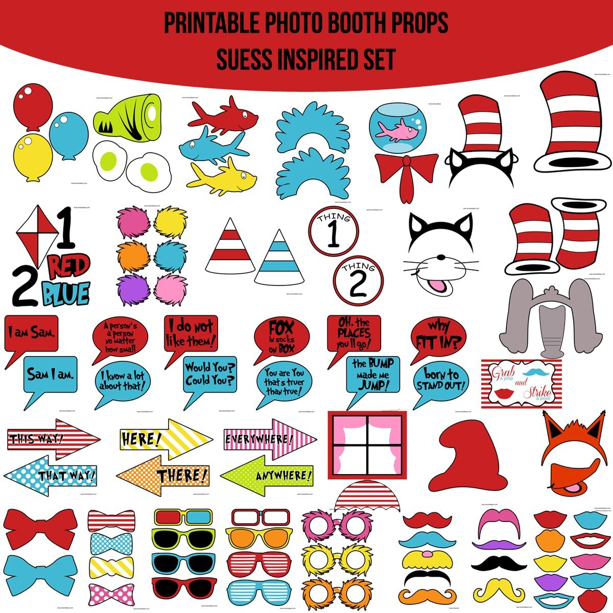 Instant Download Dr. Suess Inspired Printable Photo Booth Prop Set - Free Printable Dr Seuss Photo Props