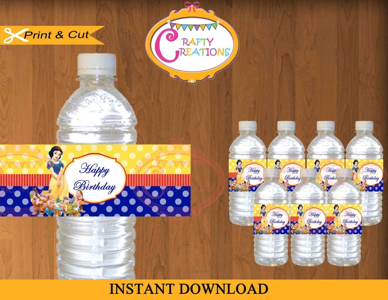 Instant Download Snow White Water Bottle Labels Printable   Etsy - Free Printable Disney Cars Water Bottle Labels
